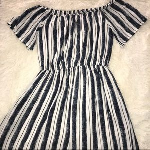 cream and blue stripped off the shoulder dress